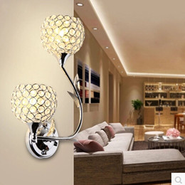 New Arrival Modern Crystal Bedroom Wall Lamp Crystal Ball LED Wall Lights Home Modern Indoor Lighting Using Bulb Lamps Free Shipping