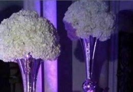Wholesale accept paypal visasliver trumpet shape tall vase flower vase wedding centerpiece table decoration mordern events vase decor idea