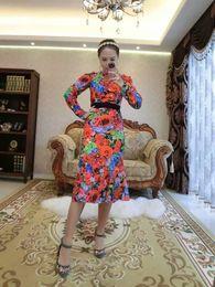 women latest world fashion dresses skirt many manual Sequins printed flower