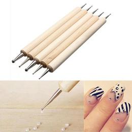 5 PCS clavo de 2 maneras profesional de la extremidad del arte punteado de la pluma de madera Juego de herramientas de manicura kit de diseño de pintura Herramientas de bricolaje Nueva desde sistemas de la pluma de madera fabricantes
