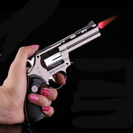 Windproof Cigarette Cigar Lighter With Holster Pistol Gun Revolver Shaped Smoking Refillable Butane Gas Jet Flame Lighter