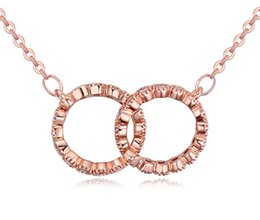 Necklaces For Women Fashion Luxury High Quality Zircon 18K Gold Plated 2 Circles Clavicle Chain Necklaces Jewelry Wholesale TN011