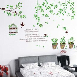 Wholesale Green Leaf Birds Flowerpot Wall Decal Room Stickers Vinyl Removable Paper Mural Home Decoration