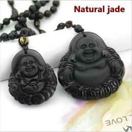 NEW Natural Obsidian necklace Fashion black smile Maitreya Buddha pendant For women men Fine jade jewelry ornament Free rope