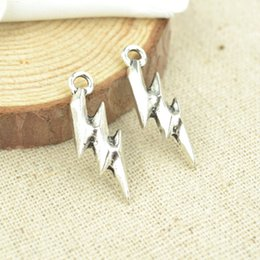 wholesale 100pcs Vintage silver plated lightning charms metal pendants for bracelets & necklace diy jewelry findings 25*9*3mm 2351