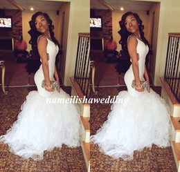 2016 New Sexy White Dubai Mermaid Prom Dresses Vestidos Sweetheart Criss Cross Back with Tiered Ruffles Long Evening Pageant Party Gowns