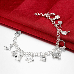 Hot sale christmas gift 925 silver Hanging 11 Bracelet DFMCH426, Brand new fashion 925 sterling silver plate Chain link bracelets high grade