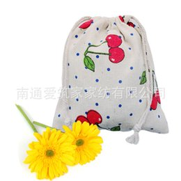 Wholesale Estuches School Trousse Scolaire Stylo Cotton Bags Mianma Cloth Pocket Cherry Folding Drawstring Bag cm Az