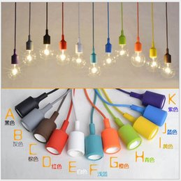 80CM Woven Cables,110V 220V,E27 Led Colorful Silicone Pendant Lights Lamp Spare Parts Lamp Socket Holders without Bulbs Pendant Lighting