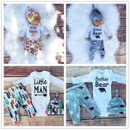 Wholesale Baby Jumpsuit Pants Cap Piece Set Autumn Winter INS Kids Clothes Infant Romper Pumpkin Bear Print Newborn Thanksgiving Day Suit New