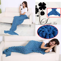 Wholesale Mermaid Tail Blankets Super Soft Sleeping Bag Hand Crocheted Fish Scale Sofa Blanket Air condition Blanket Siesta Blankets For Women X90