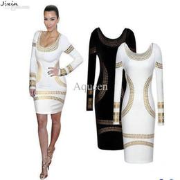 Robes moulantes kardashian à vendre-Robe moulante à manches longues pour femmes Robe moulante à manches longues kim kardashian Robe Vestido De Festa Bronze Motif Noir Blanc Bourgogne