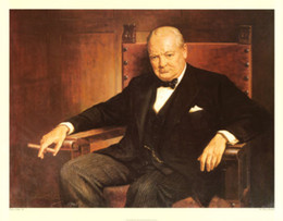 Sir Winston Churchill,Pure Hand Painted Portrait Art Oil Painting On High quality Canvas.Multi Size available Free Shipping