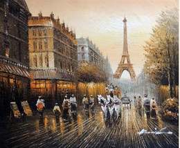 Framed Paris 1880s Eiffel Tower Shops Horse Drawn Carriage,Pure Hand Painted Art Oil Painting Canvas.Multi Sizes Available John