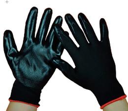 Men's Protective Black Nylon Nitrile Glove Palm Coating Gloves Construction Labor Protective Glove Safety Nitrile Glove