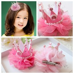 Tiaras Christmas Gift Lovely Baby Hair Clips Pearl Rhinestone Crown Children Hair Accessories High Quality for Wholesale