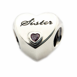 Fits for Pandora Bracelet Original 925 Sterling Silver beads Sister's Love Charm with pink CZ 2016 new Autumen jewelry 1PC lot