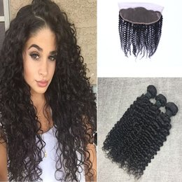 Brazilian Virgin Human Hair Kinky Curly With Lace Frontal Closure 5 Bundles 100g pc With 13x4 Ear to Ear Lace Frontal Closure Weaves Closure