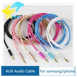 Wholesale Aux Cable mm to mm Nylon Wire Gold plated Plug Male to Male Audio Cable for Car Mobile Phone MP3 MP4 Headphone Speaker