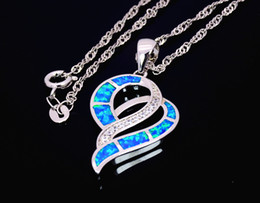 Wholesale & Retail Fashion Jewelry Fine Blue Heart Fire Opal Stone Sliver Pendants Necklace For Women PJ17082710