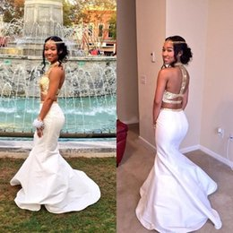 New FashionNew African High Neck White and Gold Prom Dresses 2016 Floor-Length Crystal Beaded Cute Mermaid Two Piece Evening Prom Dresses