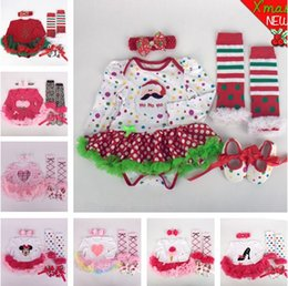 Wholesale Cute Blue Christmas Shoes - Baby Summer Dress Clothing Set Dress Rompers + Headband+Leg Warmers+ shoes Cute four-pieces for girls Newborn Infant baby Rompers Clothes