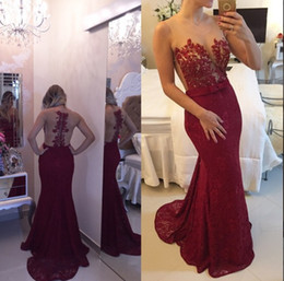 2019 Illusion Sheer Neck Evening Prom Gowns Dark Red Lace Long Formal Party Dresses Open Back Sweep Train Plus Size Free Shipping