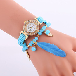 Wholesale Fashion Beaded diamond bracelet watches bead feather pendant watch Luxury Handmade watches for women Rope weave leather wristwatch