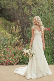 Lace Wedding Dresses Vintage With Cap Sleeves Plus Size Beach Wedding Gowns Court Train Custom Made