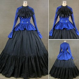 (GT020) Long Sleeves Gothic VictorianLolita Dress Ball Gown Fancy Prom Dress Halloween Party Masquerade Costume XS S M L XL XXL