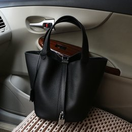 Wholesale 2016 New women Litchi grain original head layer cowhide Togo leather handbag basket bag big bucket capacity of ladies handbags