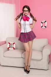 Wholesale Sexy Tie Uniforms - 2016 Adult Womens Sexy Halloween Party Student Uniform Costumes Outfit Fancy Cosplay Dresses Shirt&Skirt&Tie Size M With Tie