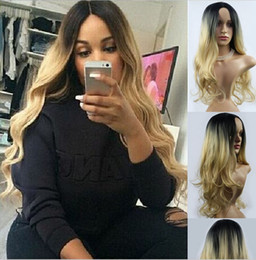 Wholesale 2016 Hot Selling Grey black shades Loose Wave Wigs Long Curly Hair Women s Wigs for America and Europe