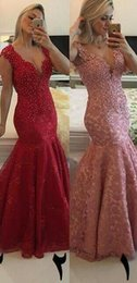 2016 Sparkly Mermaid Prom Dresses Pink Red Full Lace Sleeveless Formal Party Gowns with Deep V Neck Sexy and Elegant Party Dresses