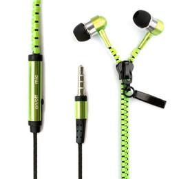 Wholesale 200pcs lot Stereo Bass Headset In Ear Metal Zipper Earphones Headphones with Mic 3.5mm MP3 MP4 MP5 phone earphone