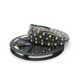 Edison2011 High Quality 5050 Black PCB RGBW LED Strip IP65 Waterproof RGB + Whit DC 12V 300 Leds 60 Leds M Free DHL