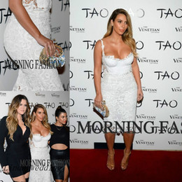 Free Shipping Kim Kardashian Evening Dresses Sweetheart Formal White Lace Short Celebrity Dresses Evening Party Gowns Vestidos De Fiesta