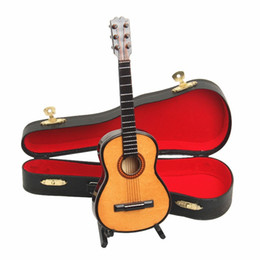 Wooden Maple Mini Toy Guitar Instrument Miniature Dollhous Moldel Home Decoration With Case