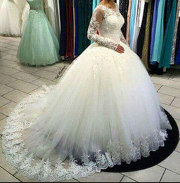 Vestido De Noiva White Long Sleeve Wedding Dresses 2016 Ball Gown Designer New 2016 Crystal Pearls Embroidery For Church Wedding Bridal Gown