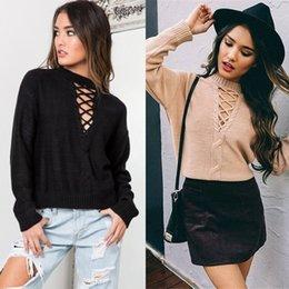 Wholesale 2016 New Autumn and Winter Women Sweaters Loose Long sleeved Women Knit Shirt Deep V neck Bandage Fashion Women Sweaters