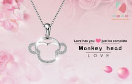 lingdong fashion monkey head pendant 2016 new 925 Sterling Silver Chain Necklace Jewelry box gift for Valentine's Day Free shipping