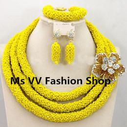 Wholesale-Handmade African Beads Jewelry Set Yellow Rhinestone Necklace Set Nigerian Wedding Jewelry Set for bridesmaid women gift Free Ship