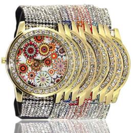 Geneva Watch Fashion Luxury Ribbon Crystal Casual Watches for Woman Flower Analog Watch National Wind Woman Quartz Casual Watch