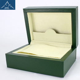 Wholesale High quality Green Wood Boxes brand Original Watch Box Crown logo Wooden box with Brochures cards