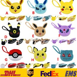 Wholesale New Poke Pikachu Eevee Espeon Umbreon Plush Purse Wallet Cartoon Action Stuffed Mini Change Coin Bags XMAS Toys Gifts cm GD P07
