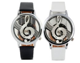 Wholesale South Korea Style Fashion Personality Male and Female Leisure Fashion Business Leather Watch Music Notes Hollow Glass