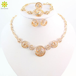 New African Costume Jewelry Set 18k Gold Plated Necklace Earrings Ring And Bracelet Set For Women Wedding