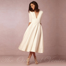 Vintage 1950's Tea Length Short Wedding Dress with Sleeves 2017 Vestido de noiva curto Sexy Deep V Neck Summer Beach Bridal Gowns