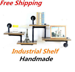 Wholesale Iron Wood American Country to do the Old Retro Shelf Shelves Showcase Industrial Water Pipes Bookcase Shelf Ledge Z29