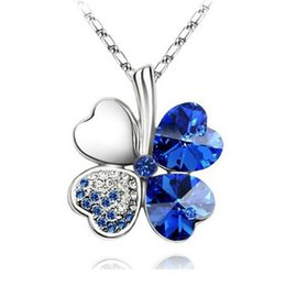 Hot ! 12pcs 6 colors petal necklace Four Leaf Clover crystal rhinestone necklace